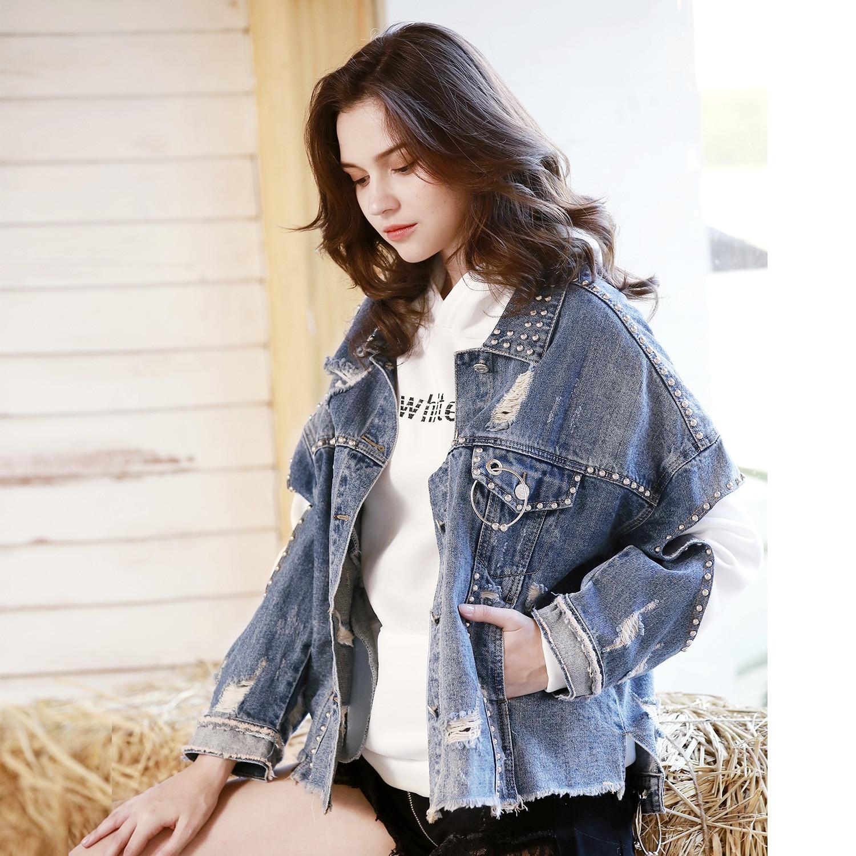 Plus 2018 Streetwear Chic Veste Bleu Court Trou Denim Perles Femmes Vintage Manteau Perle Automne La Col Rabattu Taille Outwear qpxO6v1