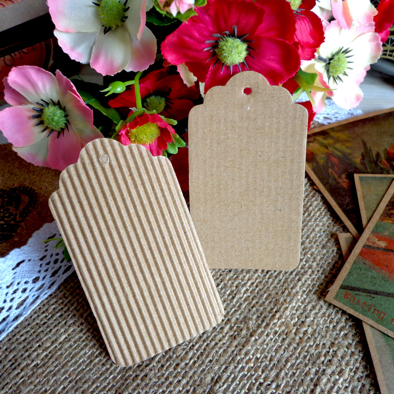 500pcs String Included Paper Tags Gift Tag With Scalloped