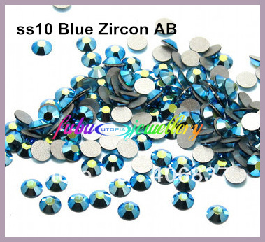 Doprava zdarma! 1440pcs / Lot, ss10 (2,7-2,9 mm) Blue Zircon AB Flat Back Nail Art Lepidlo Na Non Hotfix Rhinestones