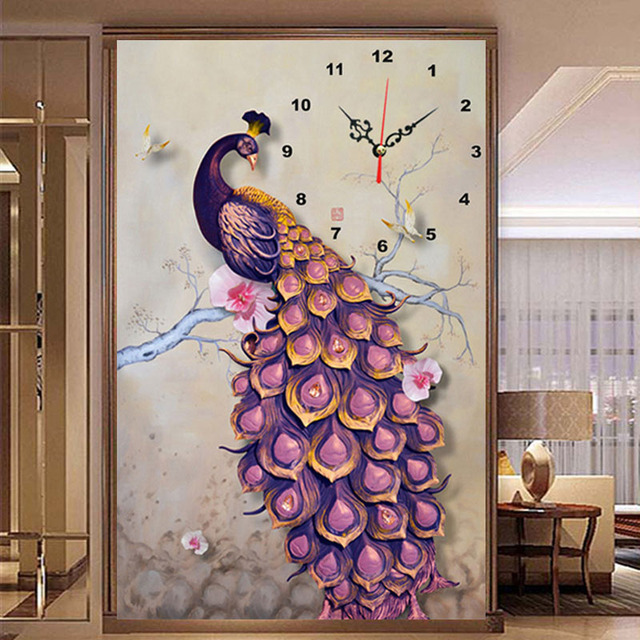 The New Diamond Painting Modern Living Room Decorative Peacock Fashion Wall Art Clock DIY Clocks