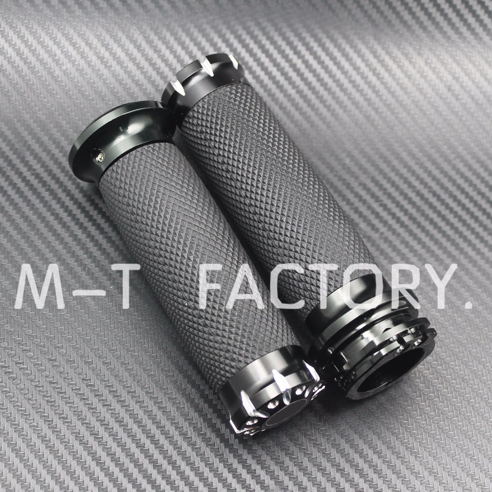 WINALL 1 25mm Handlebar Hand Grips Black Motorcycle Bar Grip for Harley Touring Dyna Softail Sportster 883 1200