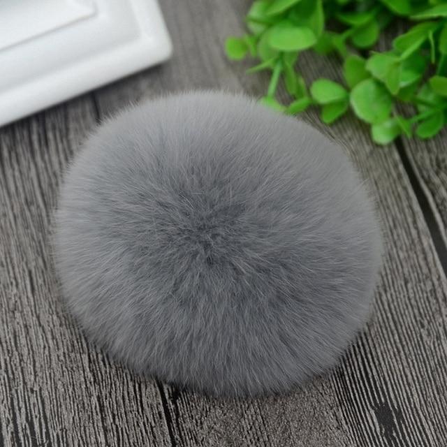 8 cm Natureza Genuine Rex Rabbit Fur Bola Pom Pom Chapéu Skullies Gorros de Inverno Tampão Feito Malha Pompons Fofo DIY F001-grey