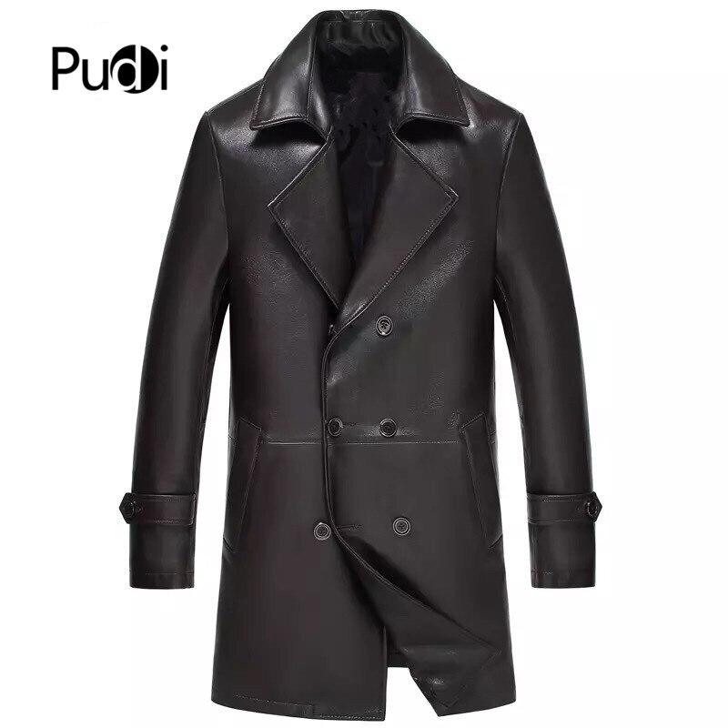 Pudi MT904 2019 nouvelle mode hommes en peau de mouton véritable manteau en cuir de longueur moyenne veste en cuir de haute qualité vêtements d'hiver chauds