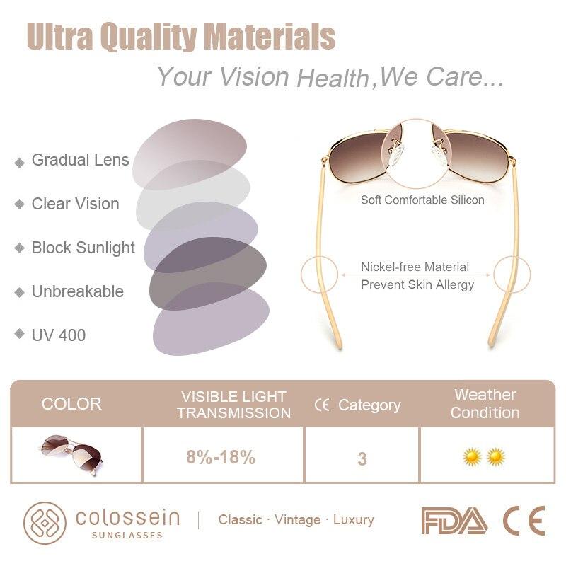 Image 4 - COLOSSEIN Luxury Vintage Sunglasses Women Glasses Ultralight Driving Pilot Polarized Sunglasses Men Gold Frame UV400 Eyewear-in Women's Sunglasses from Apparel Accessories