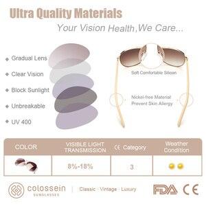 Image 4 - COLOSSEIN Luxury Vintage okulary przeciwsłoneczne damskie okulary Ultralight jazdy Pilot spolaryzowane okulary mężczyźni złote oprawki UV400 okulary