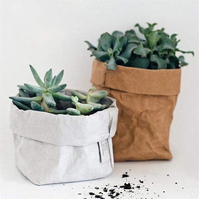 8*15CM Washable Kraft Paper Bag Home Desk Plant Flowers Pot Holder Bags Multifunction Home Reuse paper storage Pouch Bags