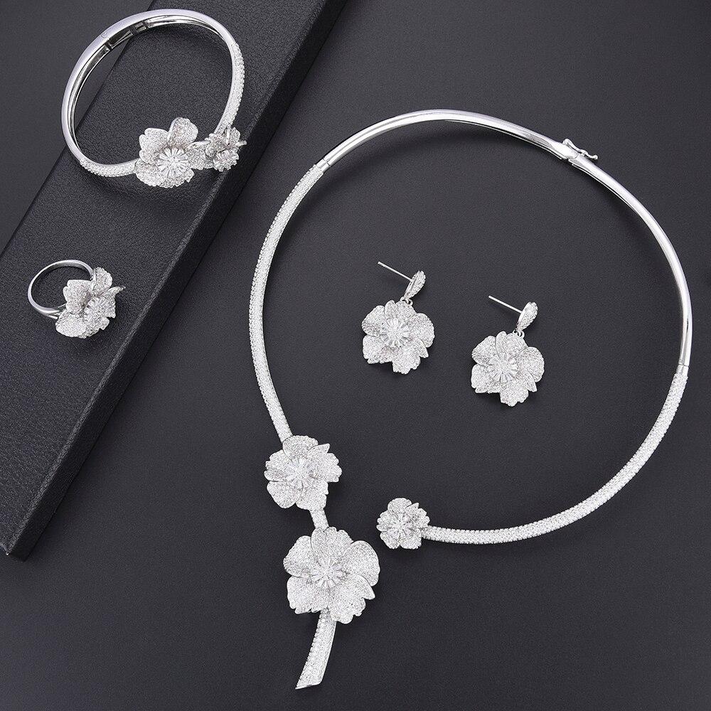 SisCathy Top qualité fabrication de bijoux à la mode de luxe cubique zircone argent couleur fleur ensembles de bijoux bracelet boucles d'oreilles collier anneau