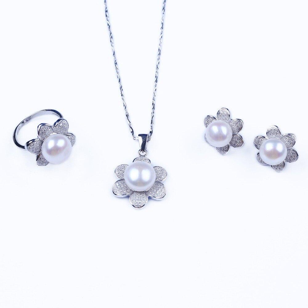 Fine 925 argent perle d'eau douce ensembles de bijoux femmes collier, bague et boucle d'oreille ensembles de strass en forme de fleur ensemble de bijoux de mariée