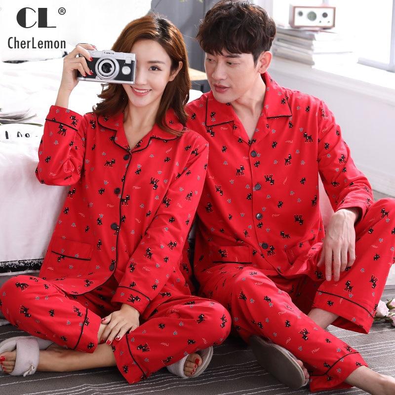 CherLemon Bride Groom 100% Cotton Pajamas Women's Long Sleeve Pyjama Set Couples Matching Sleepwear Mens Autumn Printed Homewear