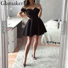 bf5553690a4 Glamaker Off shoulder black sexy dress Women strapless elegant holiday soft  winter dress Female short mini tube party dress 2018