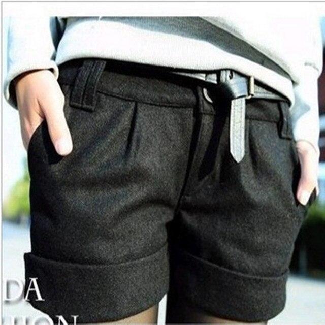 56d7d656 2016 Jesień Zima damski Turn Up Prosto Bootcut Wełniana Krótkie Spodnie  Plus duży Big Size Casual Szorty Czarny szary