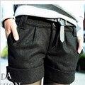 2016 mujeres Invierno Otoño Turn-Up Straight Lana Bootcut Pantalones cortos Plus large Tamaño Grande Cortocircuitos Ocasionales Negro gris