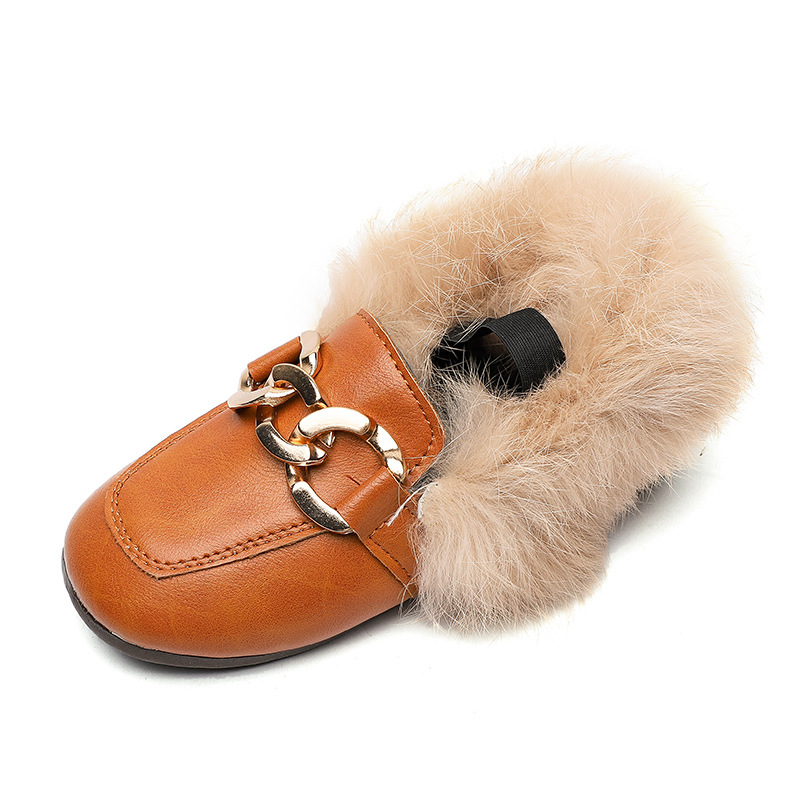 Mumoresip New Autumn Winter Girls Cotton Shoes Warm Fluffy Fur Kids Loafers With Metal Chain Boys Flats Children's Loafers 21-30