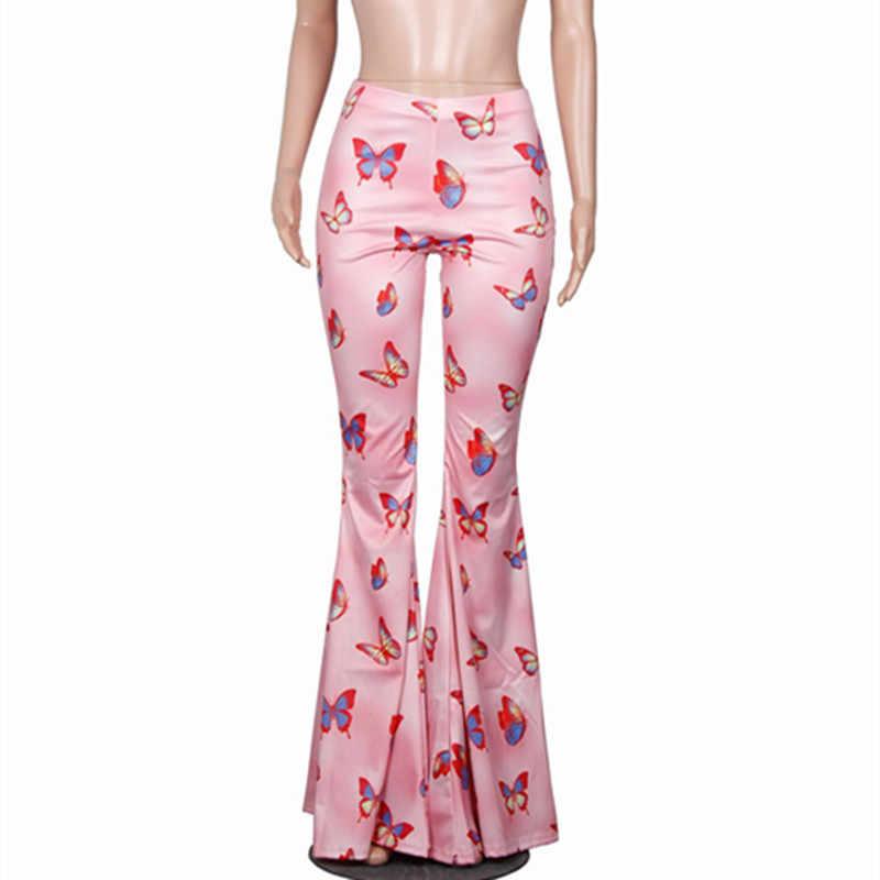Bkld женские брюки 2019 летние женские сексуальные брюки-клеш для женщин брюки с принтом бабочки Высокая талия расклешенные брюки Широкие брюки