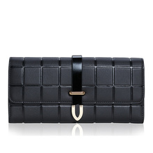 Fashion Genuine Leather Womens Wallets And Purses Clutch Bags Plaid Women Leather Slim Lock Wallet Card Holder Female Designer