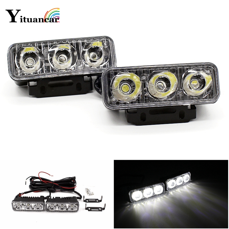 Yituancar 2X3 LED 9W Universal Daytime Running Light Source Styling Waterproof Aluminium DC12V White Work Lighting With Lens