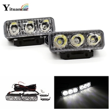 цена на High Power 2Pcs/Set 6 Led 9W Universal Car Light Source Waterproof DC12V DRL Daytime Running Light Auto Lamp White Free Shipping