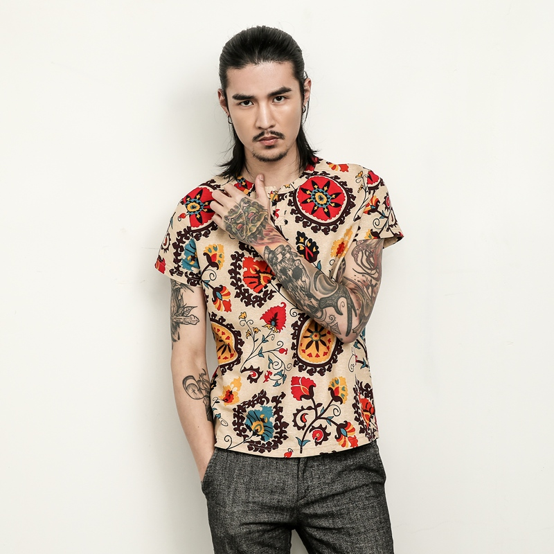 LEFT ROM Fashion Men's Short-sleeved Flower T-shirt Large Size 5XL 2018 Summer New Mens T Shirt Loose Cool Comfortable Man Top