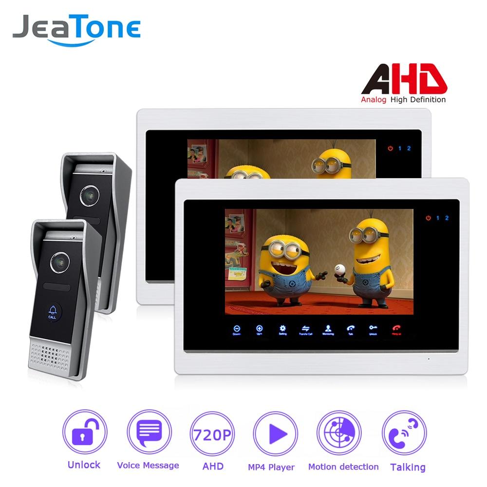 720P/AHD 4 Wired 7'' Video Door Phone Intercom Door Bell Door Speaker Security Motion Detection/Touch Button/MP4 Player/2 to 2