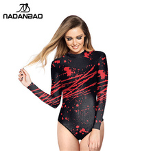 Loog Sleeve Zippered Surfing Bathing Suit Blood Splatter Printed Women Swimwear Bodysuit One Piece Swimsuit Y02032