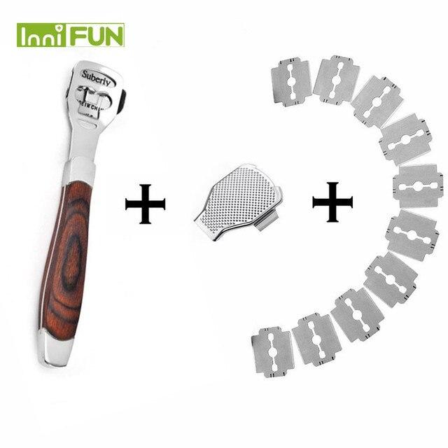 Afeitadora de piel madera de Durazno para pies, cortador de cutículas de maíz, lima de pedicura, callos de pie, 10 cuchillas, herramienta para el cuidado de los pies