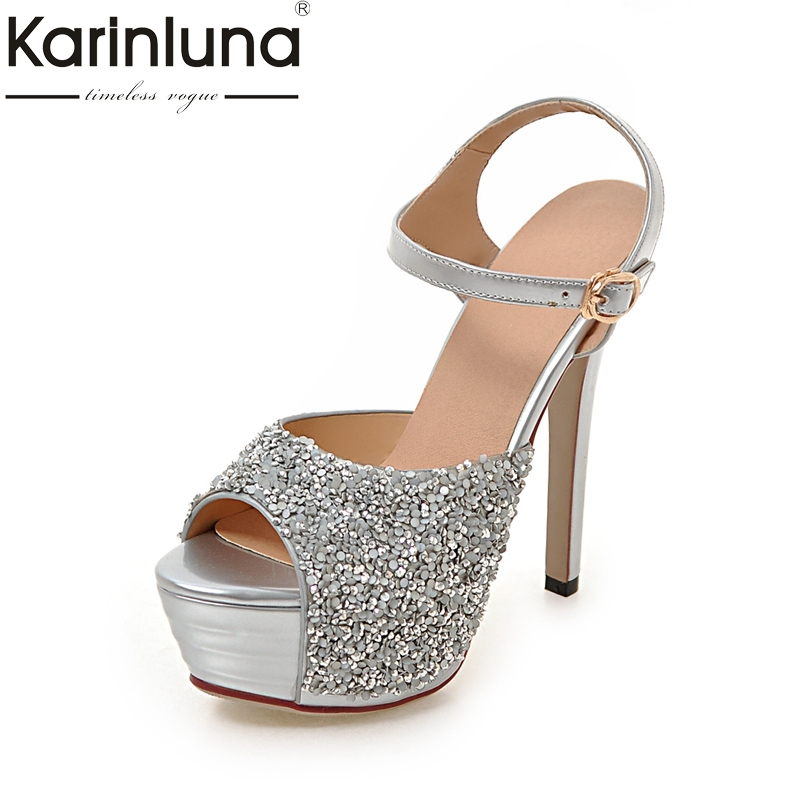 Фотография KarinLuna 2018 New Big Size 32-43 Platform Bling Upper Women Shoes Sexy High-Heeled Party Wedding Sandals Shoes Woman
