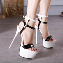 2019 Extreme High Heel Sandals Fashion Womens Shoes Peep-toe Pumps Sexy 16CM Super High Heels Gladiator Buckle Strap Shoestuh89