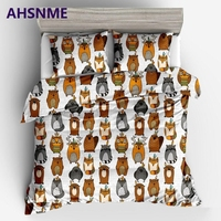 AHSNME Owl Bear Fox Raccoon Quilt cover pillowcase Europe Australia United States Multi size Bedding set King Quilt Set
