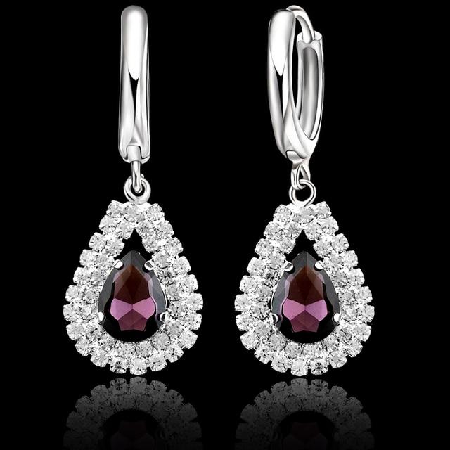 925 Sterling Silver Bridal Wedding Jewelry Sets Fine Water Drop Pendants Necklaces Earring Set  1