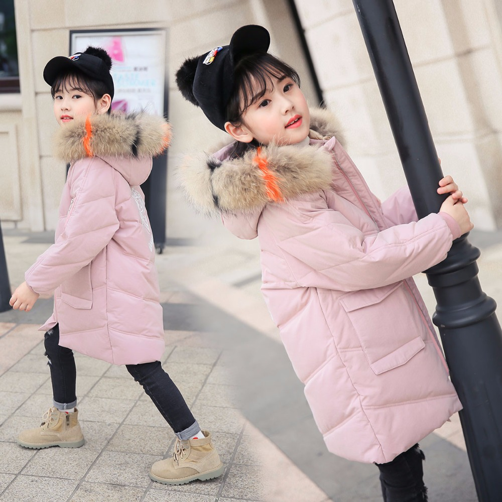 XYF9959 Girl Winter White Duck Down Coat Child Big Fur Collar Keep Warm Thick Hooded kids Jacket Long Outerwear Boys Windbreaker