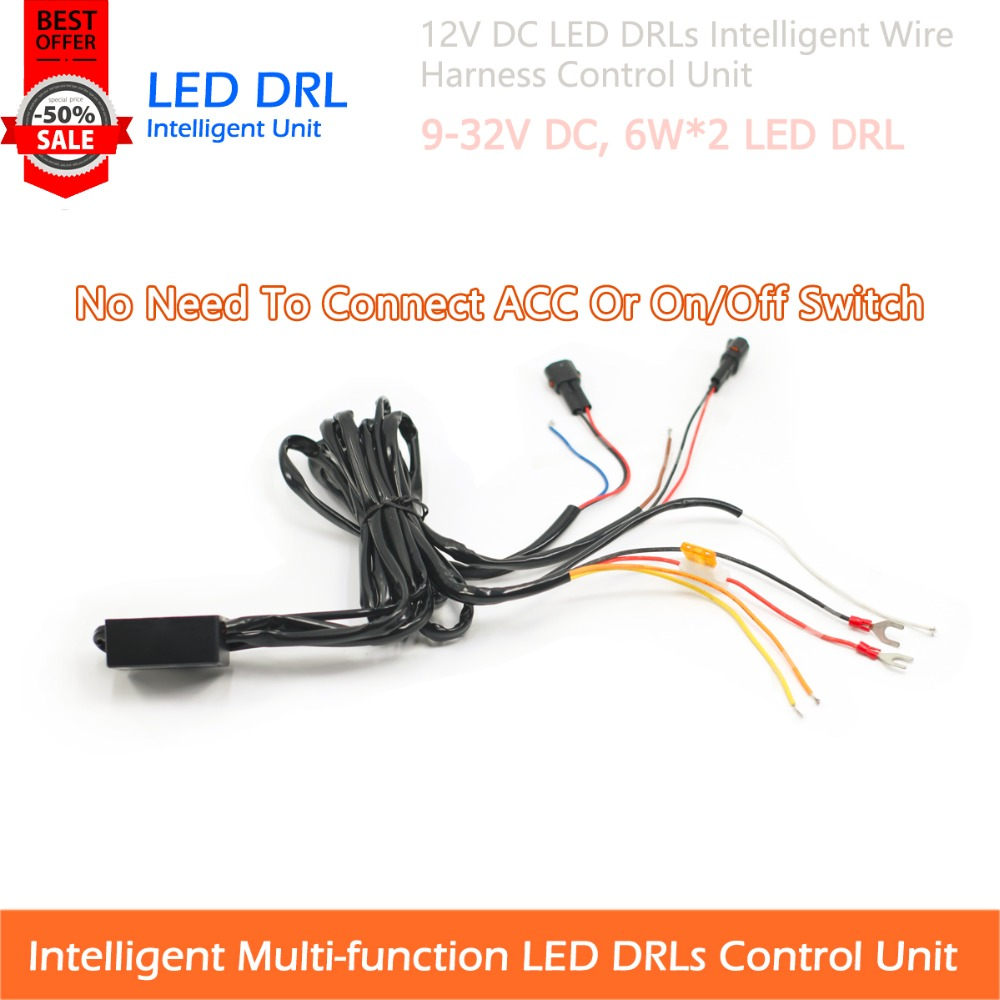 1 Set 9-32v DC LED Daytime Running Light Intelligent Control Multi-function Wire  Harness Unit