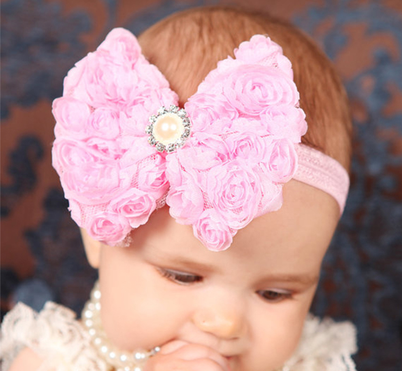 Easov Kids Girls headband Bow knot Headband Kids Big Flower Bow Headwear kid Hair Accessories  W088 women headwear gift rhinestone hair claw butterfly flower hair clip 5 5cm long middle size bow hair accessories for girls