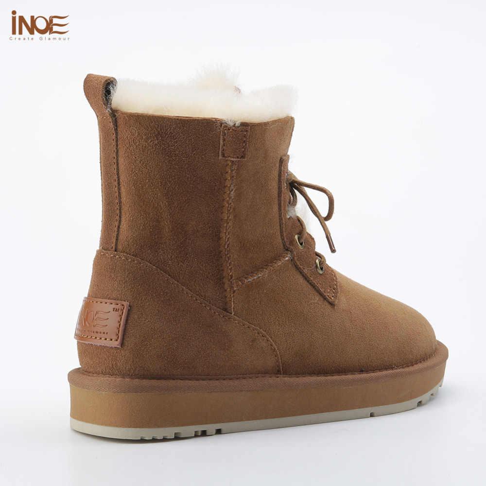 עור כבש אמיתי אופנה סגנון חדש מגפי שלג קרסול חורף פרווה מרופדת נשים גבירותיי תחרה עד נעלי חורף מקרית
