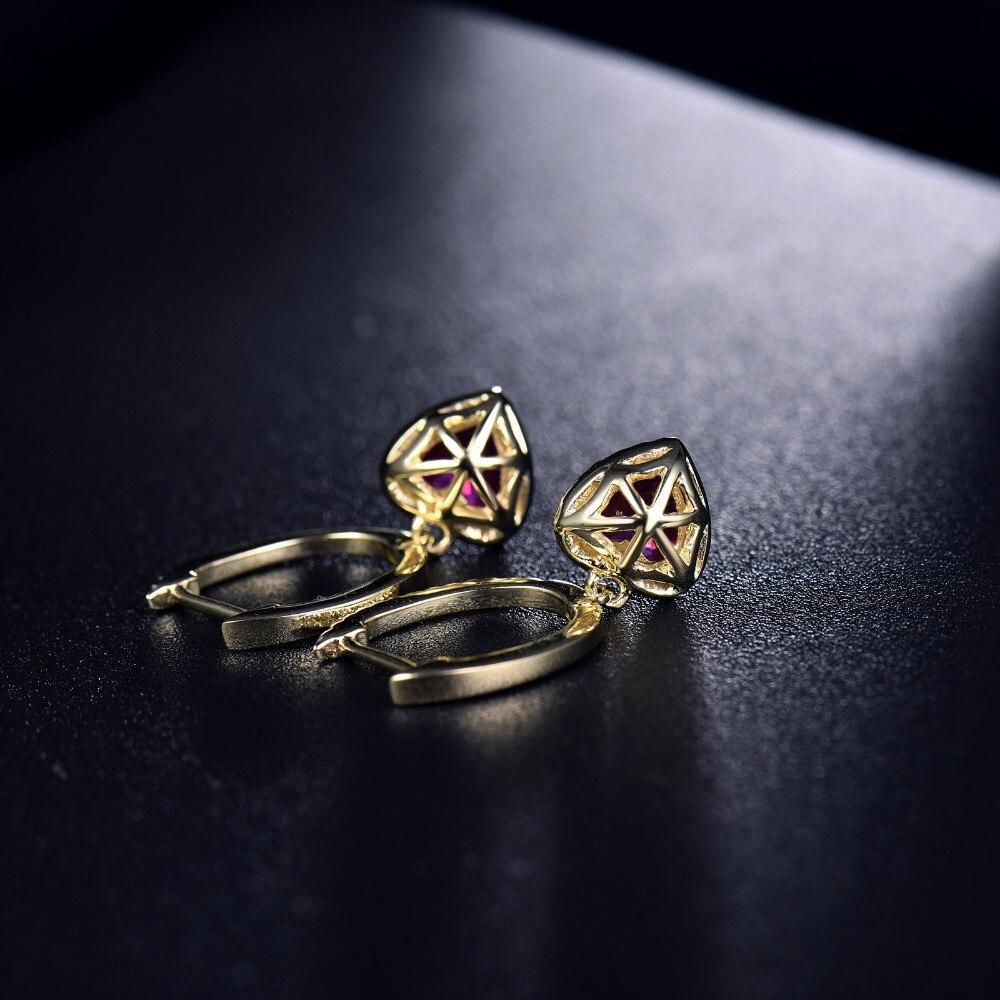 Loverbijoux femmes bijoux fins boucles d'oreilles Vintage coeur 6x6mm solide 14k or jaune diamant cadeau de mode rouge rubis boucles d'oreilles - 5
