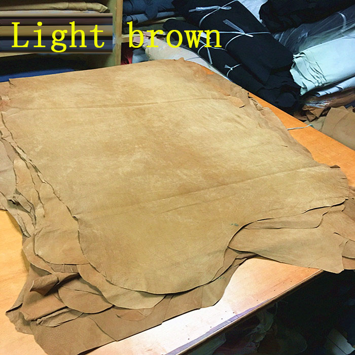 Light brown Genuine pig split suede leather material whole piece