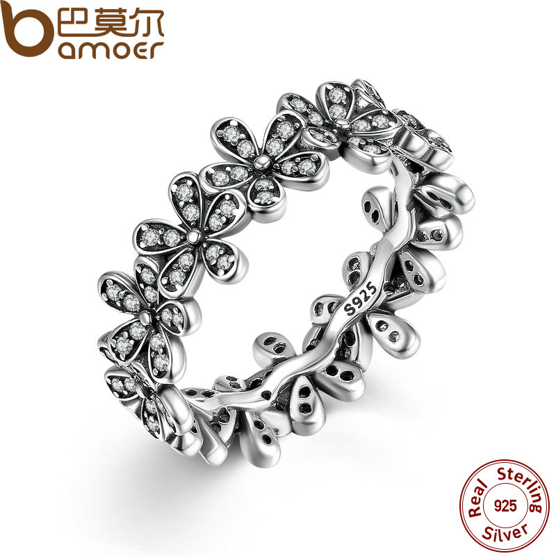 BAMOER 925 Sterling Silver Flowers Finger Rings Dazzling Daisy Meadow Stackable Ring, Clear CZ For Women Wedding Jewelry PA7122