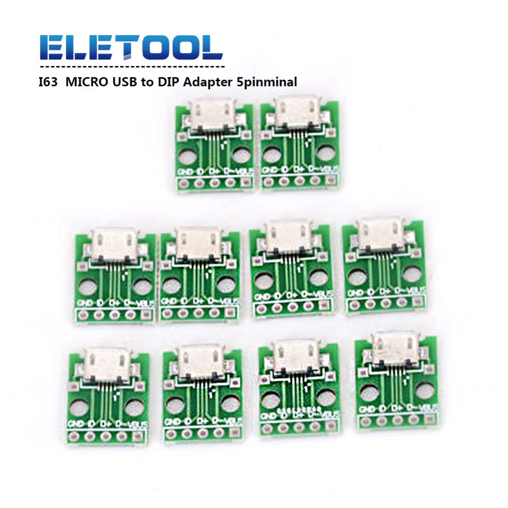 5pcs I63 <font><b>MICRO</b></font> <font><b>USB</b></font> to DIP Adapter 5pin Female <font><b>Connector</b></font> B Type <font><b>PCB</b></font> Converter XF30 image