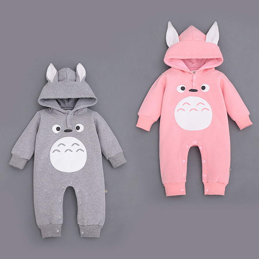 Baby Boy Romper Totoro Character Baby Winter Jumpsuit Hooded Long Sleeve Baby Wear Clothes  Newborn Warm Suit for 7-18M unisex winter baby clothes long sleeve hooded baby romper one piece covered button infant baby jumpsuit newborn romper for baby