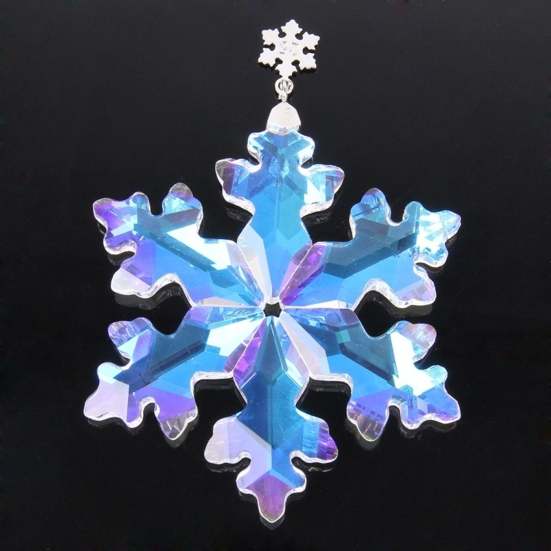 Top 80mm clear AB Crystal Snowflake 10pcs crystal chandelier pendants christmas tree suncatcher hanging prisms free