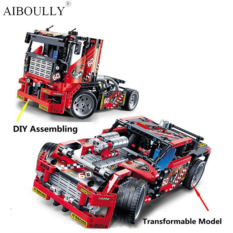 DIY Toys 608pcs Race Truck Car 2 In 1 Transformable Model Building Block Sets Decool 3360 Compatible With Technic 42041