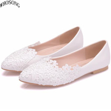 WHOSONG Womens shoes white lace casual shoe 2019 Women White pointed flat Wedding M37