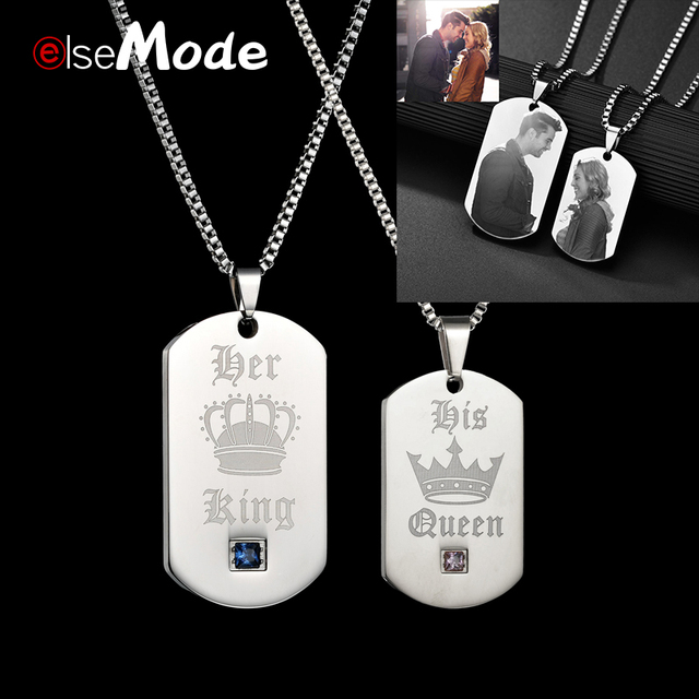 e68921ac0 ELSEMODE Customized Engrave Lover Name Necklace Her King His Queen CZ Stone  Pendant 316L Stainless Steel Men Women Jewelry