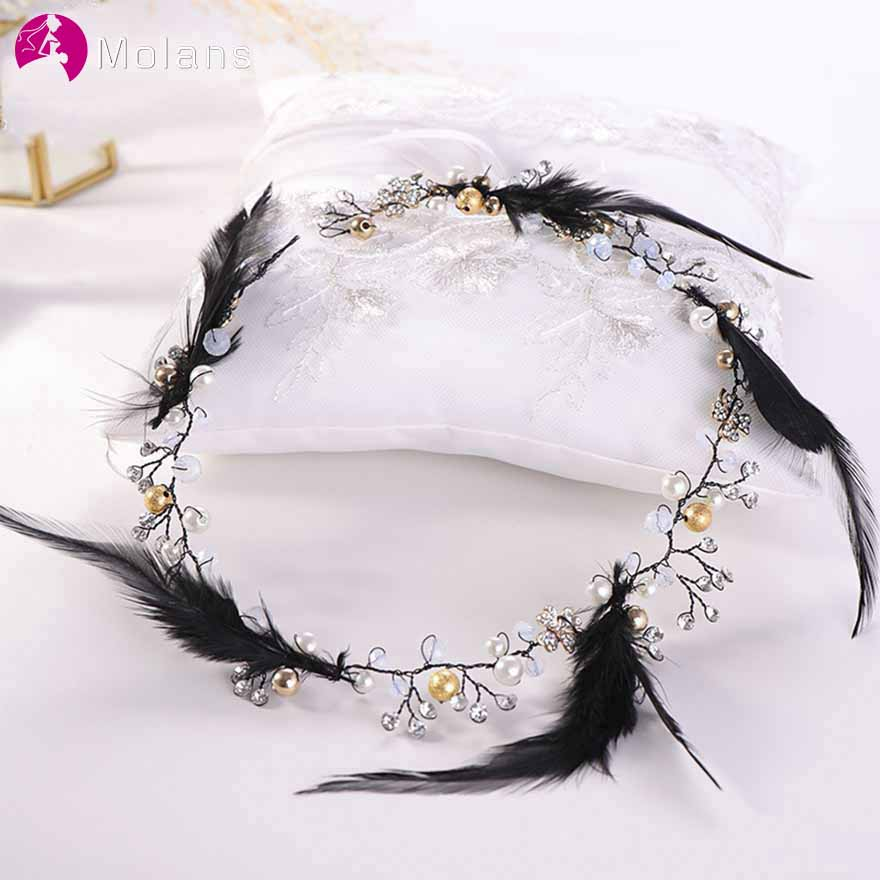 MOLANS Korean Feather Beading Headwear Hair Belt Sweet Smart Hair Ornament For Bridal Marriage Jewelry Wedding Dress Accessories