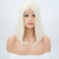 Rongduoyi Short Silk Straight Heat Resistant Synthetic Hair Lace Front Wig For Black/white Women Cosplay Blonde Bob Wigs