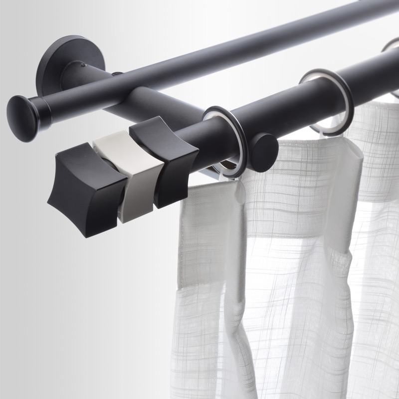New Design Fashion Solid Carbon Steel Curtain Rod with Decorative Round Head Single Double Curtain Accessories Custom Made Size