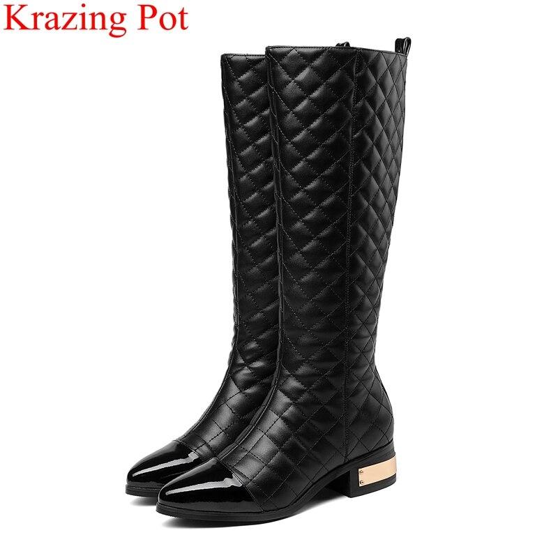 2018 superstar big size thick heel high quality women Knee High boots zipper keep warm winter shoes elegant thigh high boots L22-in Knee-High Boots from Shoes    1
