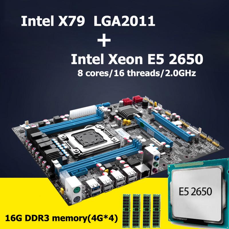 Prix pour HUANAN carte mère CPU combos révision 2.47 Intel X79 LGA 2011 carte mère avec CPU Xeon E5 2650 (4*4G) 16G DDR3 RECC mémoire