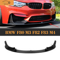 Углеродного волокна спереди диффузор спойлер с разветвители фартук для BMW F80 M3 F82 F83 M4 2014 2017 два Стиль тела комплект
