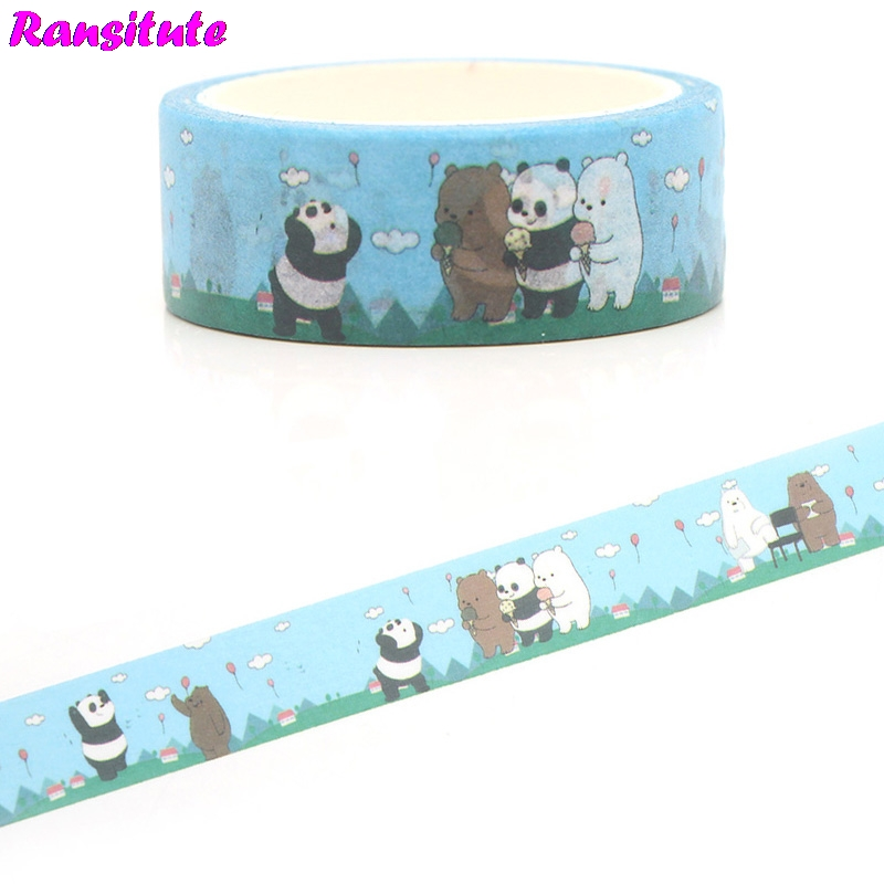 Ransitute R388  We Bare Bears Washi Tape Gift Box Petal Animal Color Decoration Detachable Sticker
