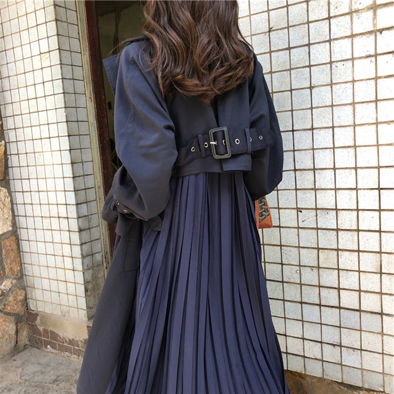 2020 Autumn Women's Trench Coat Long Elegant Pleated Chiffon Splice Casaco Femme Loose Trench Coat Large Size Casual Outwear